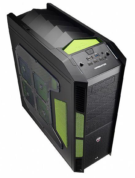 Gabinete - Gabinete AeroCool XPredator Evil Green Edition - Controlador de Fan - E-Sata - USB 3.0 - EN58124