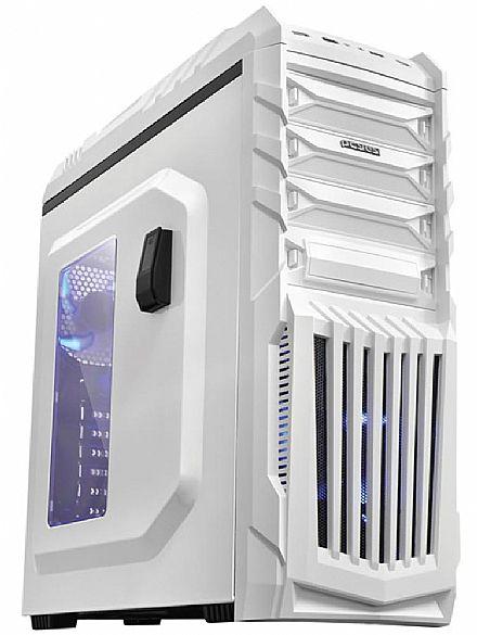 Gabinete - Gabinete Pcyes Tiger Gamer Branco - com Led Azul - Janela Lateral em Acrílico - Filtro de Poeira - USB 3.0