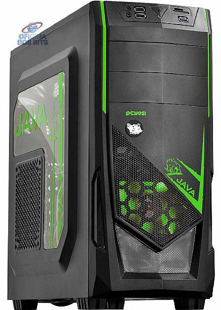 Gabinete - Gabinete PCYes Java Verde - Janela Lateral em Acrílico - Detalhes em Verde - USB 3.0 - JAVAPTOVD2FCA