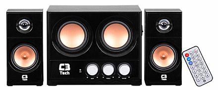 Caixa de Som - Caixa de Som 2.1 C3 Tech SP-225S - 15W RMS - com Controle Remoto