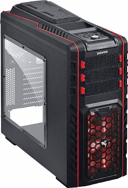 Gabinete - Gabinete PCYes Pegasus - com Controlador de Fan - USB 3.0 - LED Vermelho
