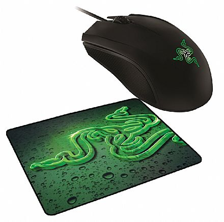 Mouse - Kit Gamer Mouse Razer Abyssus Green + Mouse Pad Goliathus Small Speed Terra - RZ83-02020100-B3U1