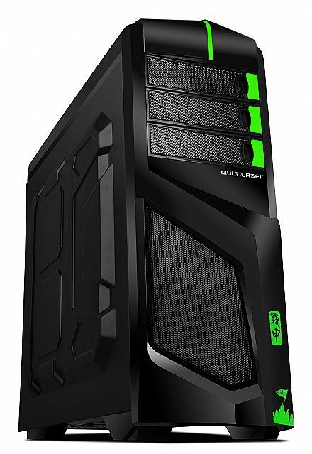 Gabinete - Gabinete Multilaser Cyborg - USB 3.0 - GA133 - Preto e Verde