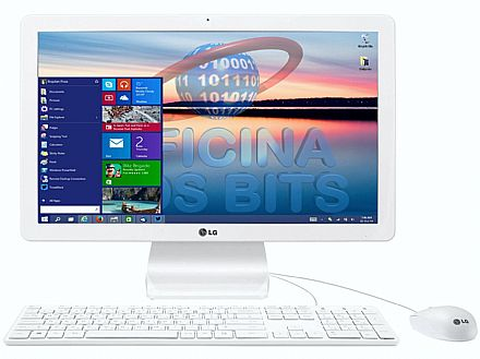 "Computador All in One - Computador All in One LG 22V240 - Tela 21.5"", Intel Quad Core, 4GB, HD 500GB, Windows 10"