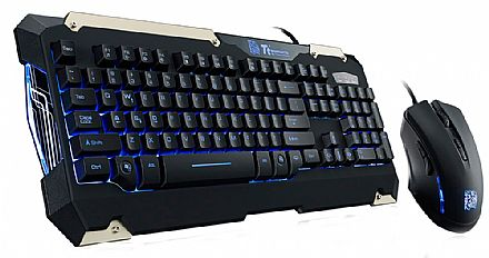 Kit Teclado e Mouse - Kit Teclado e Mouse Thermaltake Sports Commander Combo - 2400dpi - com LED Azul - ABNT2 - KB-CMC-PLBLPB-01
