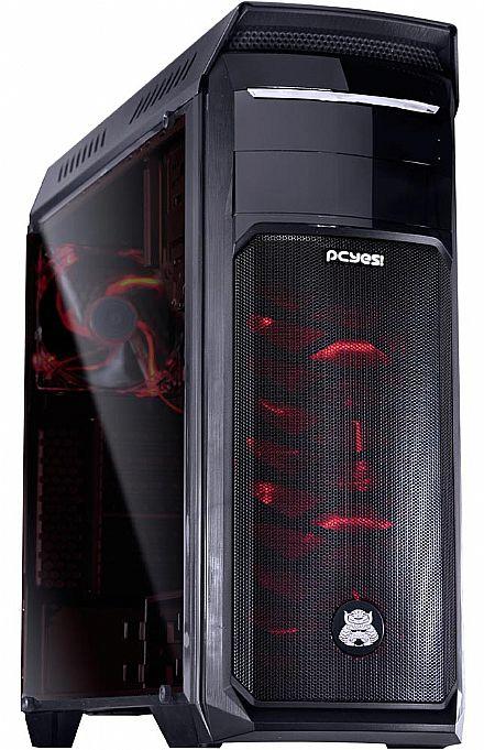 Gabinete - Gabinete PCYes Samurai Red - com LED Vermelho - -Janela Lateral em Acrílico - com Filtro de Poeira - USB 3.0