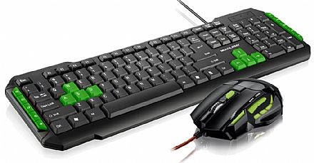 Kit Teclado e Mouse - Kit Teclado e Mouse Gamer Multilaser - Verde - Teclas Multimídia - 2400dpi - Botão Atirador - TC201 / MO208
