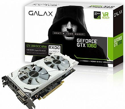 Placa de Vídeo - GeForce GTX 1060 6GB GDDR5 192bits - EXOC Teclab Edition White - Galax 60NRH7DVM3VW