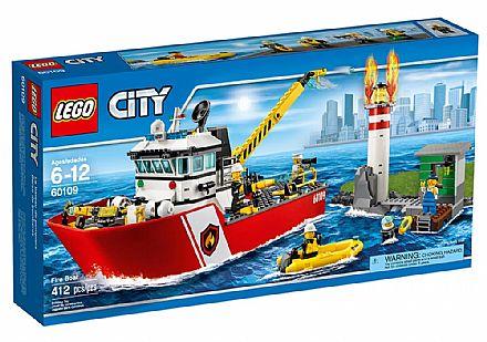 Brinquedo - LEGO City - Barco de Combate ao Fogo - 60109