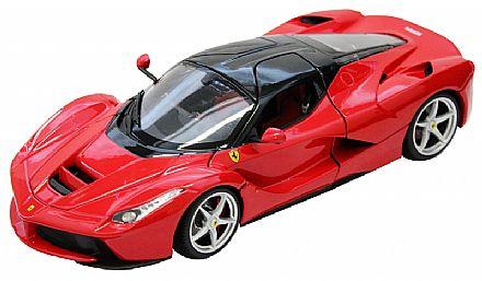 Brinquedo - Miniatura LaFerrari Vermelha - Escala 1:18 - Bburago 18-16901