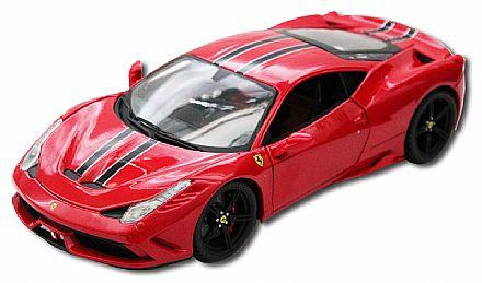 Brinquedo - Miniatura Ferrari 458 Speciale Vermelha - Escala 1:18 - Bburago 18-16903