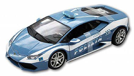 Brinquedo - Miniatura Lamborghini Huracán LP 610-4 Polícia - Escala 1:18 - Bburago 18-11041