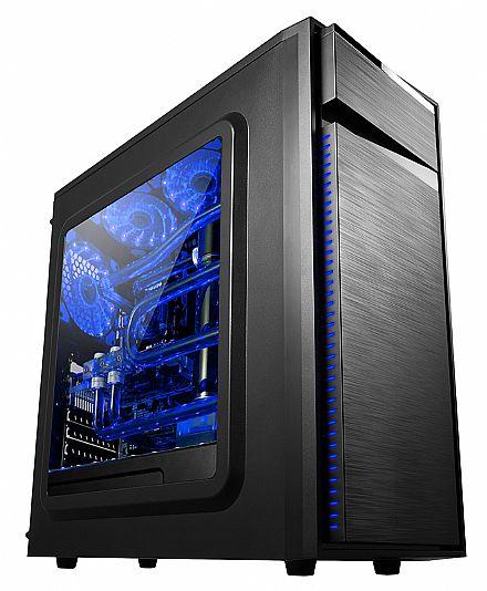 Gabinete - Gabinete Gamer Bluecase BG-015 - USB 3.0 - Janela Lateral de Acrílico - 3 Coolers Inclusos - Led Azul
