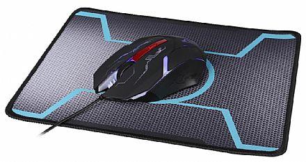 Mouse - Kit Mouse e Mouse Pad Dazz Tiglon X - 1200dpi - Iluminação interna - 624666