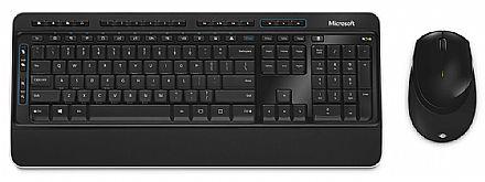 Kit Teclado e Mouse - Kit Teclado e Mouse sem Fio Microsoft Wireless Desktop 3050 - Preto - PP3-00005