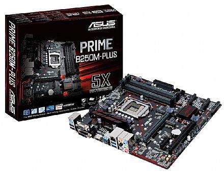 Placa Mãe para Intel - Asus Prime B250M-PLUS (LGA 1151 - DDR4 2400) Chipset Intel B250 - USB Type C - Slots M.2