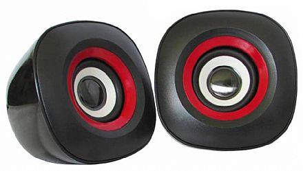 Caixa de Som - Caixa de Som K-Mex SP-7000 - 3W RMS - USB - com Controle de Volume - Preto e Vermelho