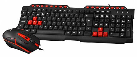 Kit Teclado e Mouse - Kit Teclado e Mouse Gamer C3 Tech - ABNT2 - 1200dpi - GK-20BK