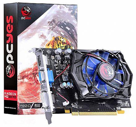 Placa de Vídeo - AMD Radeon HD 6570 2GB DDR5 128bits - PCYes PPV657012802D5