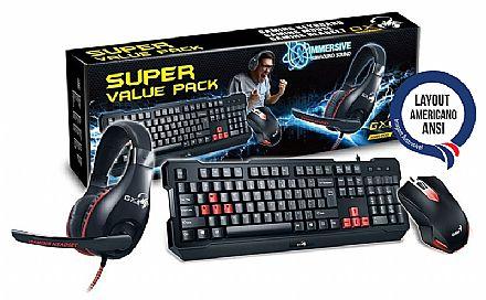 Kit Teclado e Mouse - Kit Teclado, Mouse e Headset Gamer Genius - 1000dpi - com Controle de Volume - ANSI - KMH-200