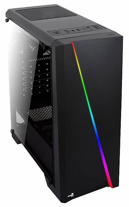 Gabinete - Gabinete AeroCool Cylon - USB 3.0 - Janela Lateral em Acrílico - Frontal com LED RGB - Preto