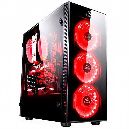 Gabinete - Gabinete Gamer Redragon Sideswipe - Coolers RGB - Janela Lateral em Vidro Temperado - Mid Tower - GC-601