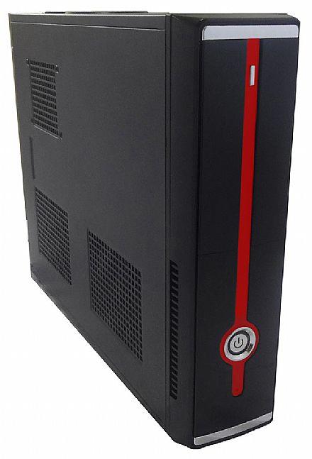 Gabinete - Gabinete Slim CaseMall Case Black S103-R - Vertical / Horizontal - Preto e Vermelho