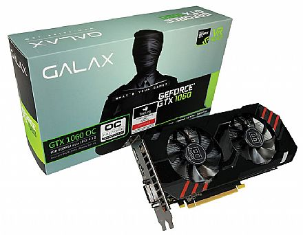 Placa de Vídeo - GeForce GTX 1060 6GB GDDR5 192bits - Entusiasta OC Edition - Galax 60NRH7DSR4BY