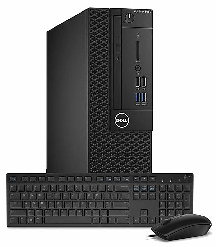 Computador - Computador Dell OptiPlex 3050 Small Desktop - Intel i3 7100, 8GB, SSD 256GB, DVD, Kit Teclado e Mouse, Windows 10 Pro - Garantia 1 ano - Outlet