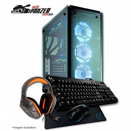 Computador Gamer - PC Gamer Bits PANZER TIGER 2019 - Intel® Core i7 8700, Water Cooler, 32GB, HD 4TB + SSD 480GB, GeForce RTX 2080 8GB, Gabinete Corsair Crystal, Kit Gamer Logitech