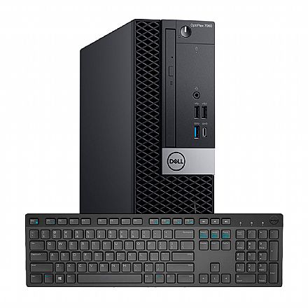 Computador - Computador Dell OptiPlex 7060 Small Desktop - Intel i5 8500, 8GB, SSD 256GB, DVD, Intel UHD Graphics, Kit Teclado + Mouse, Windows 10 Pro - Outlet - Garantia 90 dias