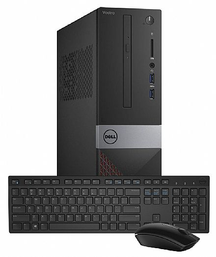 Computador - Computador Dell Vostro 3470 - Intel i3 8100, 4GB, HD 1TB, DVD, Windows 10 Pro, Kit Teclado e Mouse sem fio - Outlet - Garantia 90 dias