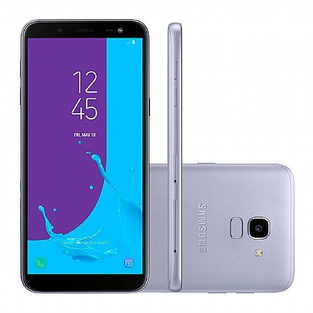 "Smartphone - Smartphone Samsung Galaxy J6 - Tela 5.6"" Super AMOLED, 32GB, Dual Chip 4G, 13MP, TV Digital, Leitor de Digital - Prata - J600GT"