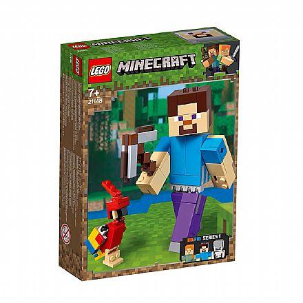 Brinquedo - LEGO Minecraft BigFig - Grande Steve com o Papagaio - 21148