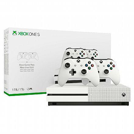 Videogame - Console Microsoft Xbox One S 1TB Branco + 2 Controles sem fio - 234-00603