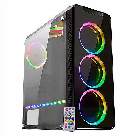 Gabinete - Gabinete Gamer K-Mex Infinity 4 - Painel Frontal de Vidro Temperado - com Coolers e Fita LED RGB Rainbow - Controle Remoto - CG-04G8
