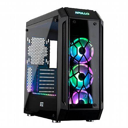 Gabinete - Gabinete DT3 Sports Apollo Sync - PSU Cover - Lateral e Frontal de Vidro Temperado - com Controlador e Coolers RGB