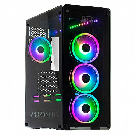 Gabinete - Gabinete DT3 Sports Andromeda Sync - PSU Cover - Lateral e Frontal de Vidro Temperado - com Controlador e Coolers RGB