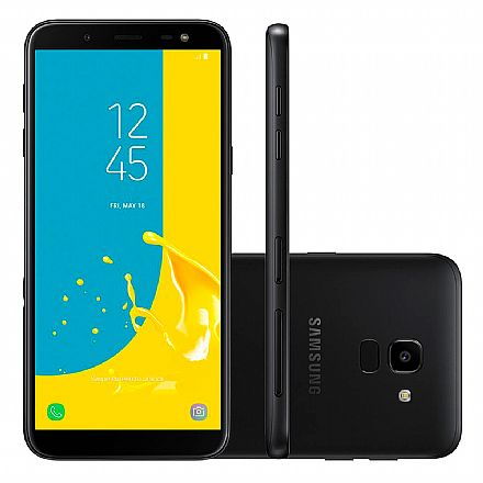 "Smartphone - Smartphone Samsung Galaxy J6 - Tela 5.6"" Super AMOLED, 32GB, Dual Chip 4G, 13MP, TV Digital, Leitor de Digital - Preto - SM-J600GT"