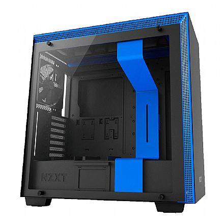 Gabinete - Gabinete NZXT H700 - Lateral em Vidro Temperado - USB 3.0 - Preto e Azul - CA-H700B-BL