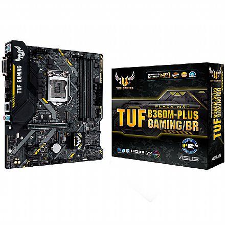 Placa Mãe para Intel - Asus TUF B360M-PLUS GAMING/BR (LGA 1151 - DDR4 2666) - Chipset Intel B360 - USB 3.1 Tipo C - Slot M.2 - Micro ATX
