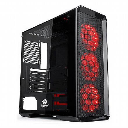 Gabinete - Gabinete Gamer Redragon Grimlock - com Coolers RGB - Laterais em Vidro Temperado - GC-602