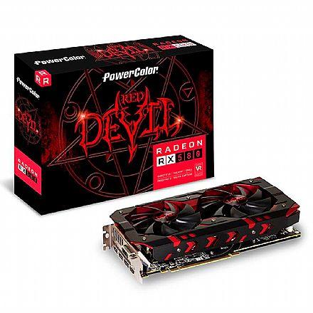Placa de Vídeo - AMD Radeon RX 580 8GB GDDR5 256bits - Red Devil - Power Color AXRX 580 8GBD5-3DH/OC