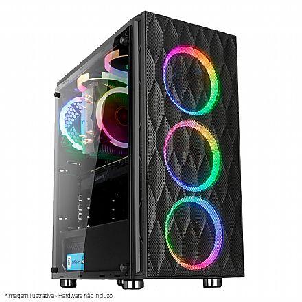 Gabinete - Gabinete Liketec Horus - com Coolers RGB - Lateral esquerda em Vidro Temperado - USB 3.0