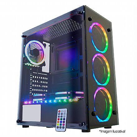Gabinete - Gabinete Gamer K-Mex Atlantis ll - Painel Frontal e Lateral em Vidro Temperado - com Coolers e Fita LED RGB Rainbow - Controle Remoto - CG-02N9