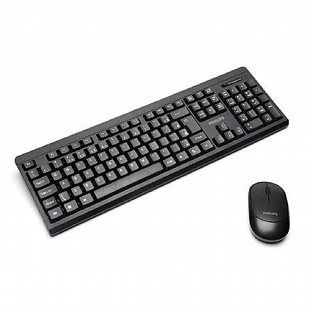 Kit Teclado e Mouse - Kit Teclado e Mouse sem fio Philips Convenience - ABNT - SPK6324