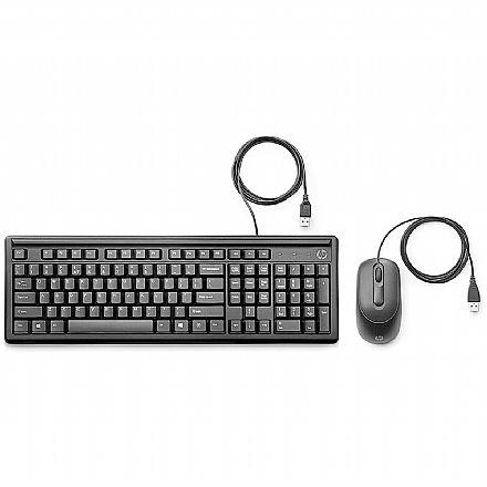 Kit Teclado e Mouse - Kit Teclado e Mouse HP 160 - ABNT2 - 1000dpi - USB - 6HD76AA