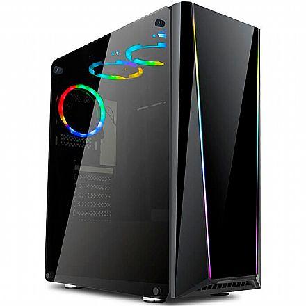 Gabinete - Gabinete Redragon Tailgate - Janela Lateral e Frontal em Vidro Temperado - com Coolers RGB - USB 3.0 - GC-702