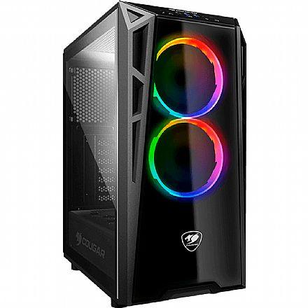 Gabinete - Gabinete Cougar Gaming Turret RGB - USB 3.0 - Mid Tower - Vidro Temperado - 2 Coolers Inclusos