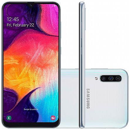"""Smartphone - Smartphone Samsung Galaxy A50 - Tela 6.4"""" Super Amoled, 128GB, Dual Chip, Câmera Tripla 25MP, Leitor de Digital na tela - Branco - SM-A505GT"""